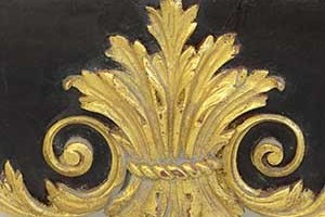 Parcel Gilt  This is an example of a light antique gold finish on our William Kent mirror.
