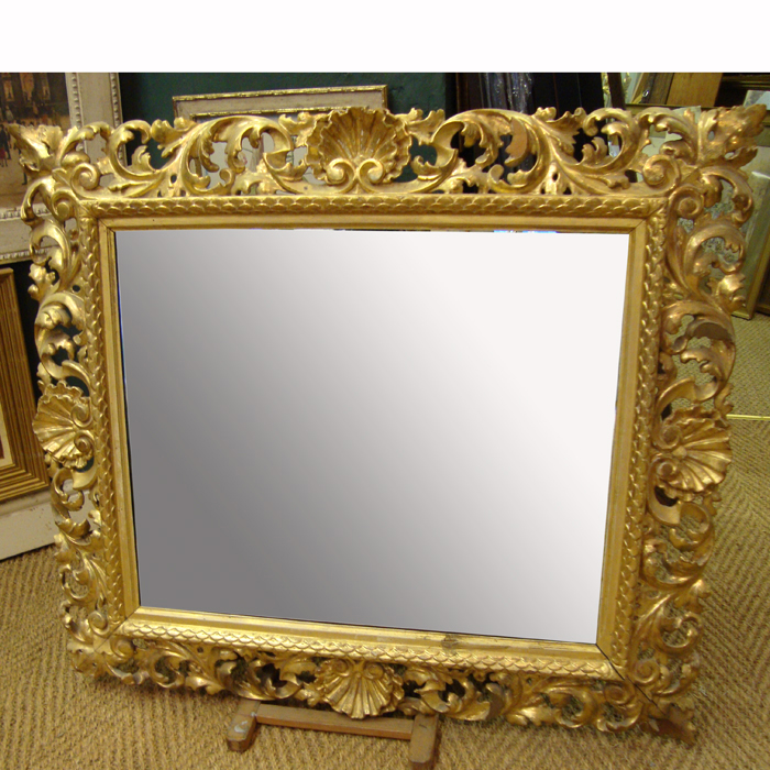 Shell Crest Arch Overmantel Florentine Antique Mirror
