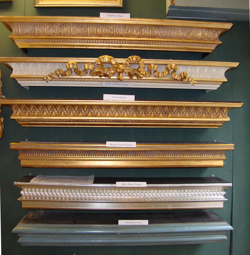 Pelmets looking glass of bath for Wooden curtain pelmets