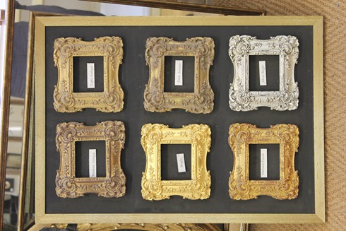 This shows some of our gilded finishes which can be applied to any of our frames