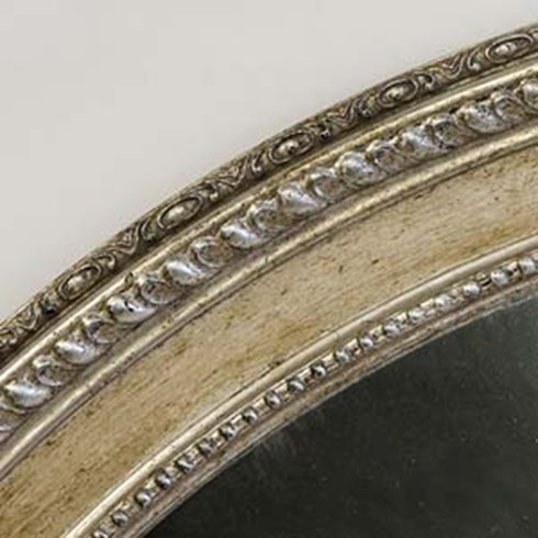 Silver Finish<br /><br />This is an example of a dark antique silver finish on our Piecrust Oval mirror.
