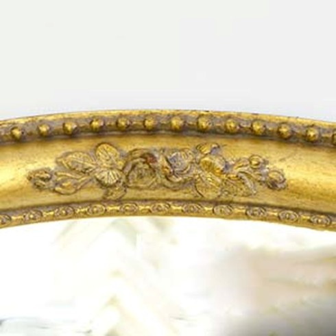 Gilt Finish<br /><br />This is an example of a medium antique gold finish on our Rosebud Oval mirror.