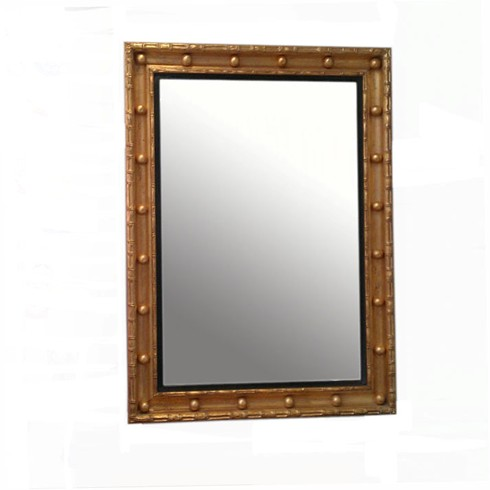 The Brighton Mirror<BR>£750.00<BR><BR>This is a lovely frame copied from an original hanging in the Royal Pavillion in Brighton.<BR><BR>Two widths of gilded bamboo enclose a concave frame 4 1/2' wide.<BR><BR>Can be gilded in either gold or silver and also with or without balls and black reeded slip frame, this mirror always looks particulary impressive when fitted with bevelled mirror plate.<BR><BR> <BR><BR>Example size Width 24' x Height 36'
