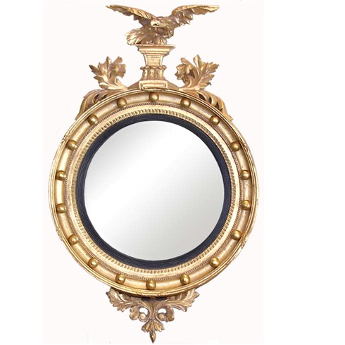 Convex with Eagle<br/><br/>£1,195.00<br/><br/>This 26' convex with eagle and base decoration has an overall height of 43'.<br/><br/>The frame and decoration can be a paint finish of your choice or gilded as shown. This price shown includes all decorations. <br/><br/>The convex pictured is 26' diameter and 38' including eagle. <br/><br/>We also supply the following circular convex mirrors in, 20', 26', 32' and 36' diameter. <br/><br/>See finishes page for alternative frame finishes.