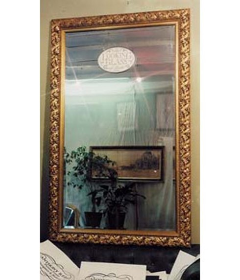 The Vineleaf Mirror<br/><br/>£650 per sq. metre. <br/><br/>This very pretty gold or silver leaf frame has interwoven vine leaves as decoration. It also looks lovely painted in a broken off white.