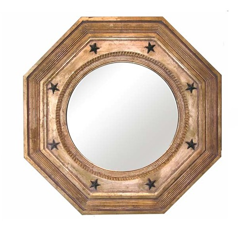 Octagonal Convex<BR>£1,175.00<BR><BR>This is a very traditional mirror, the reeded outer frame and star decoration emphasize the octagonal form of the mirror, and is typical of the late 18th Century.<BR><BR>The size available is 30' x 30' optional black of gilded star decoration is £30.00 extra