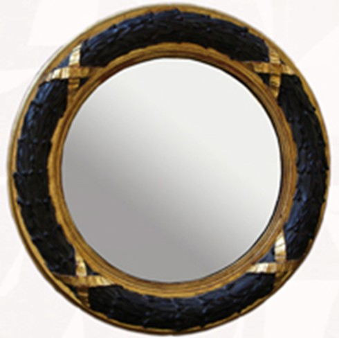 """Laurel Leaf Convex<br/><br/>£1,150.00<br/><br/>An impressive eye catching mirror, acts as a focal point in any situation. <br/><br/>See finishes page for alternative frame finishes. <br/><br/>Example size: 32"""" diameter<br/><br/>Can be gilded in either Gold or Silver."""
