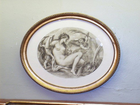 Bartellozzi sepia print in oval gilt frame . size 20x25cms. £35.