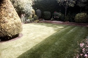 Lawn after grass has been cut and edgings strimmed during regular garden maintenance visit.
