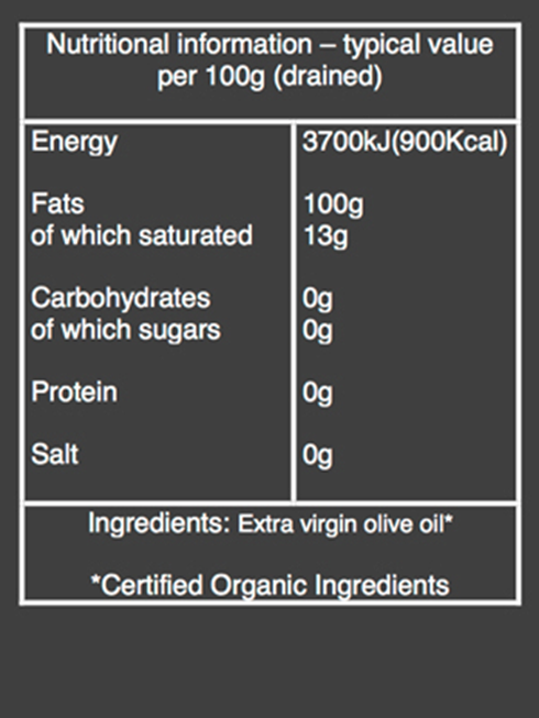 extra virgin olive oil nutritional information