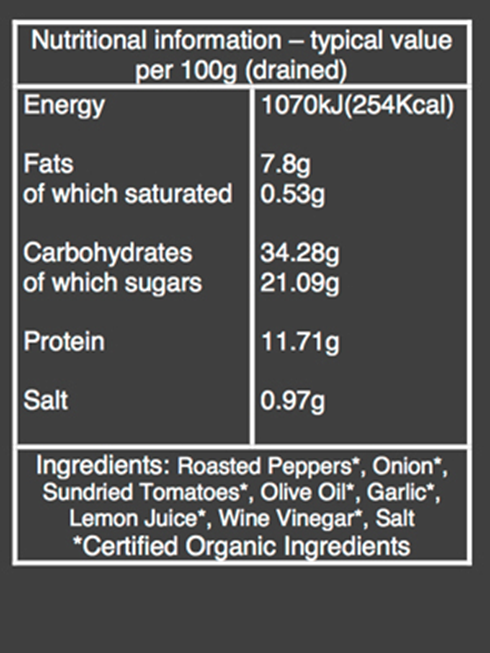 organic roasted red pepper dip nutritional information
