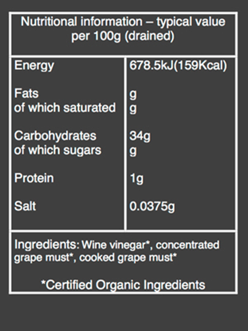 organic balsamic glaze nutritional information
