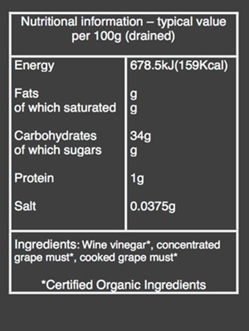 organic balsamic glaze nutritional information