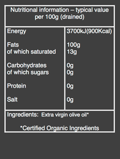 organic Extra virgin olive oil nutritional information