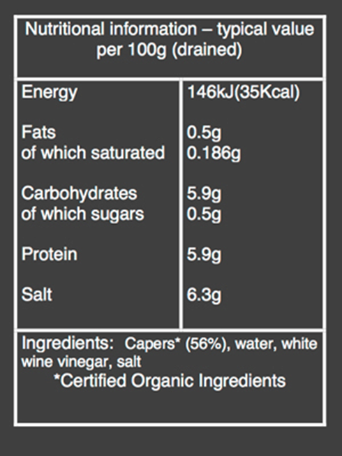 Organic Capers nutritional information