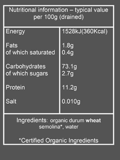 organic speciality pasta nutritional information