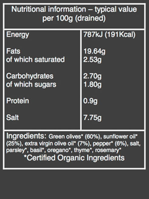 organic pepper stuffed olives nutritional information