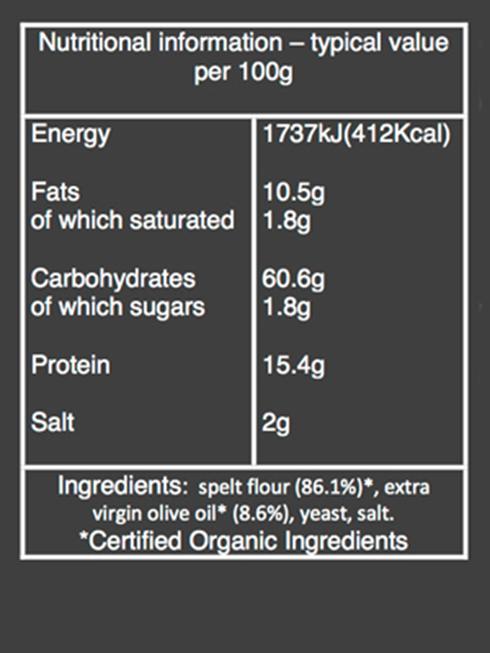 organic spelt grissini nutritional information