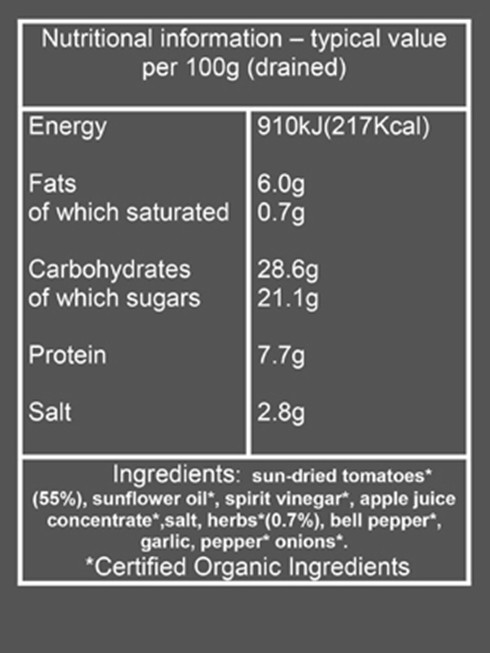 sun dried tomatoes nutritional information