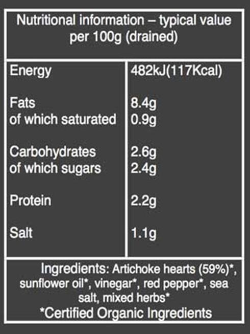 Organico Artichoke Hearts nutritional information