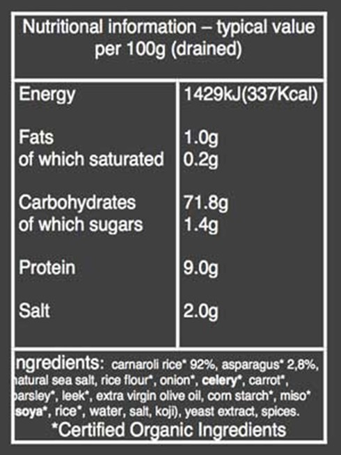 Organico Asparagus Risotto nutritional information