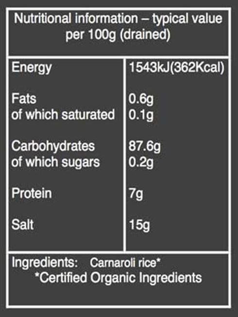 Organico Carnoroli rice nutritional information
