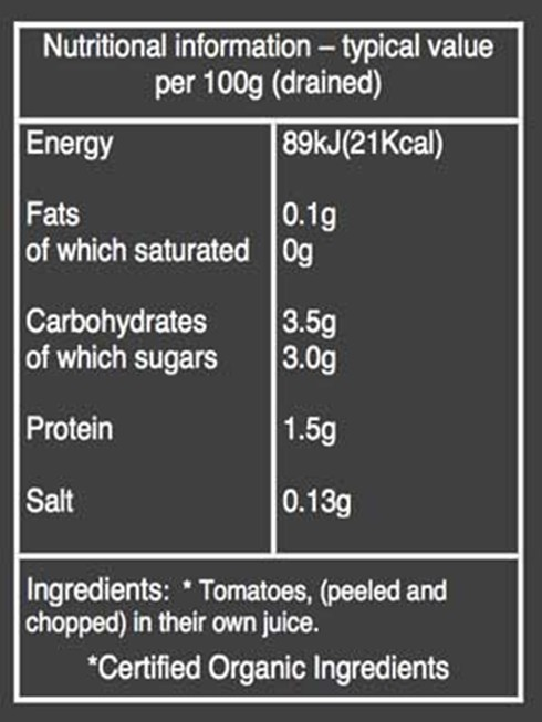 Organico Chopped Tomatoes nutritional information