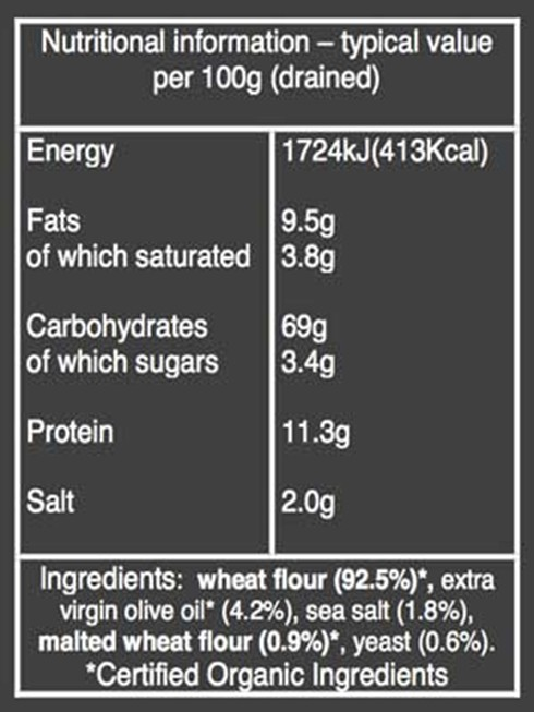 Organic Grissini Torinessi nutritional information