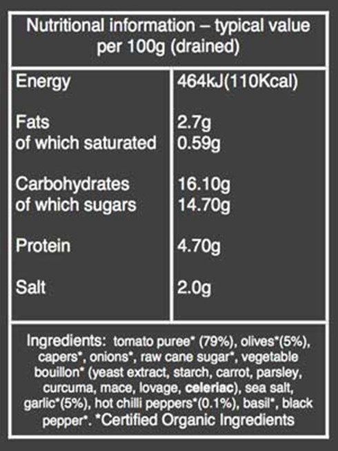 Organic olive, chilli, garlic nutritional information