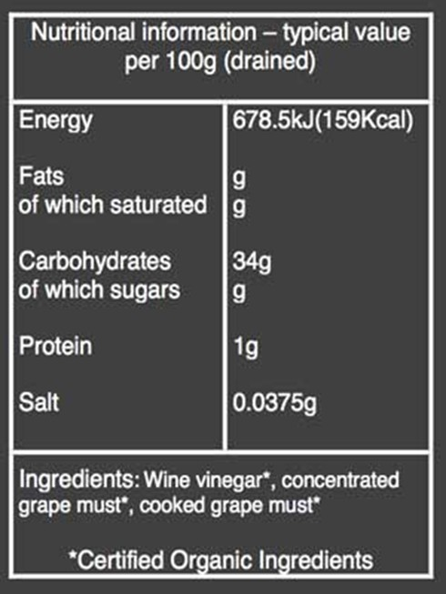 Organic balsamic vinegar nutritional information