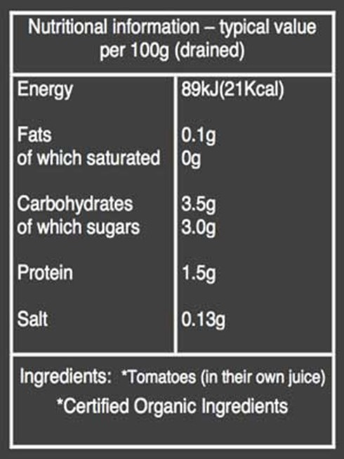 Organic peeled tomatoes nutritional information