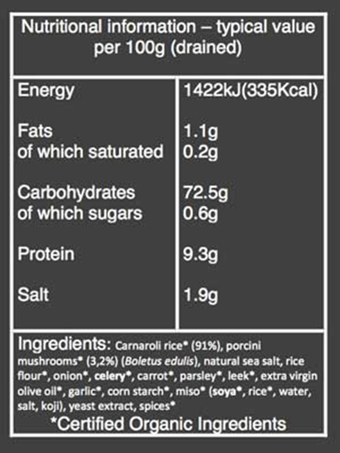 Organic Porcini Risotto nutritional information