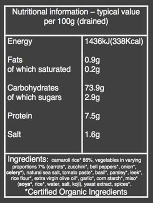 Organic primavera risotto nutritional information