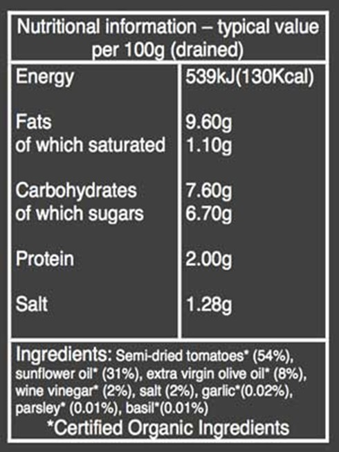 Organic Semi-Dried Tomatoes Nutritional Information
