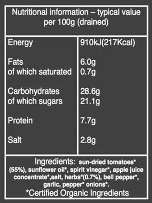 Organic Sun-dried tomatoes nutritional information