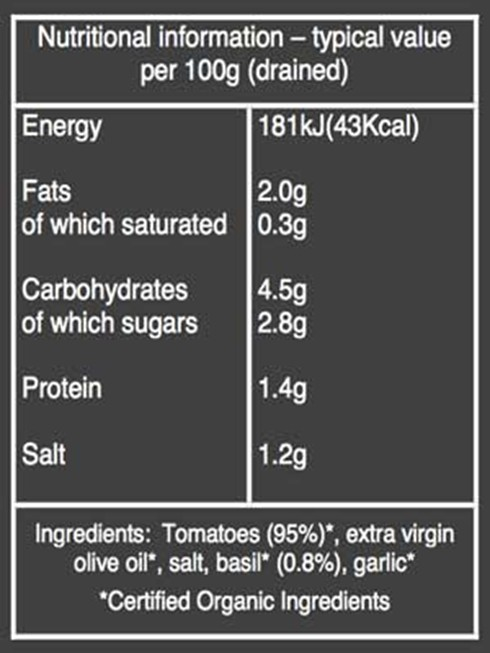 Organic Tomato and Basil sauce nutritional information
