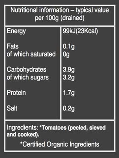 Organic Tomato Passata Nutritional Information