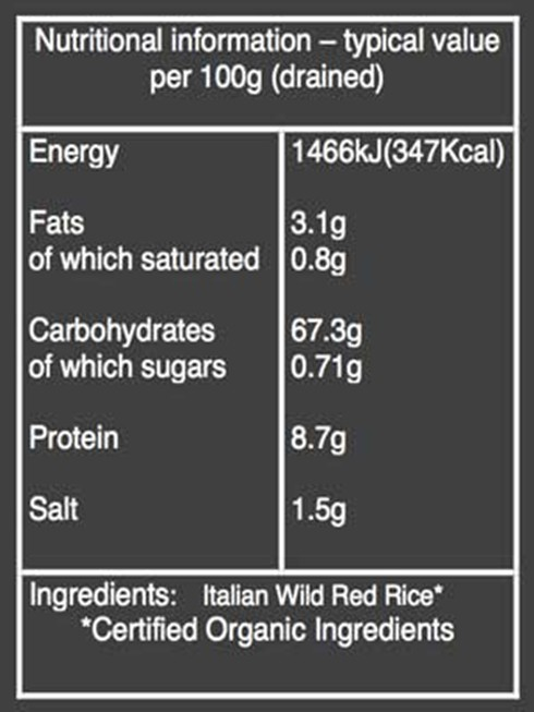 Organic Red rice nutritional box
