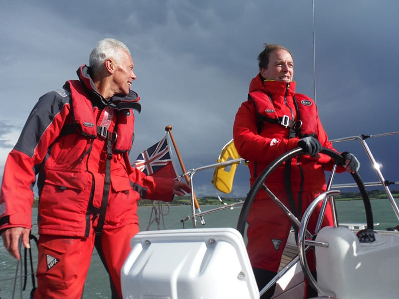 Two at helm with stormy weather