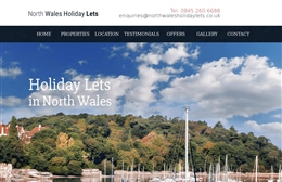 North Wales Holiday Lets - website design by Toolkit Websites, Southampton