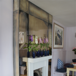 antique mirror glass fireplace