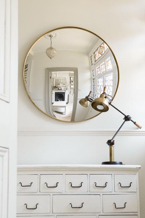 Brass framed convex mirror www.antiquedmirror.com
