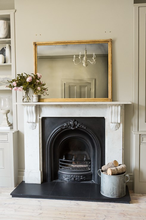 Bristol Overmantel fitted with our smoked antiqued mirror glass www.antiquedmirror.com