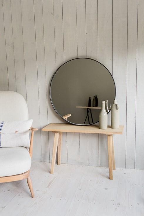 Black brushed iron flat circular mirror www.antiquedmirror.com
