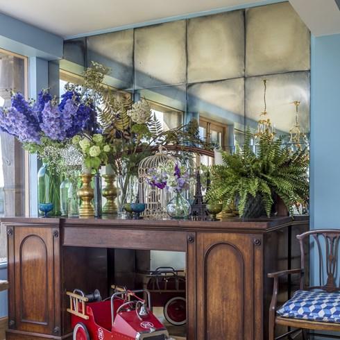 antiqued mirror panels