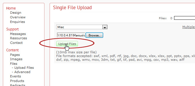 How to Upload a File : Toolkit Support
