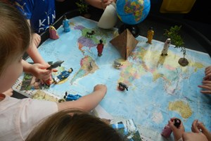 exploring a world map