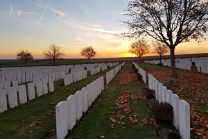 Sunset at Ovillers Cemetery on the Somme
