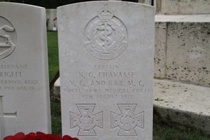 The grave of Captain Noel Chavasse. The only man to be awarded the Victoria Cross twice during the Great War