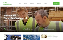 Turbo Scaffolding - 1-page website design by Toolkit Websites, Southampton